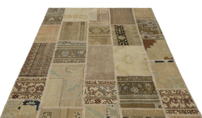 Beige Over Dyed Patchwork Unique Rug 5'3'' x 7'7'' ft 160 x 230 cm