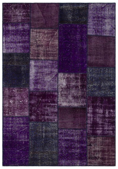 Purple Over Dyed Patchwork Unique Rug 5'3'' x 7'7'' ft 160 x 230 cm
