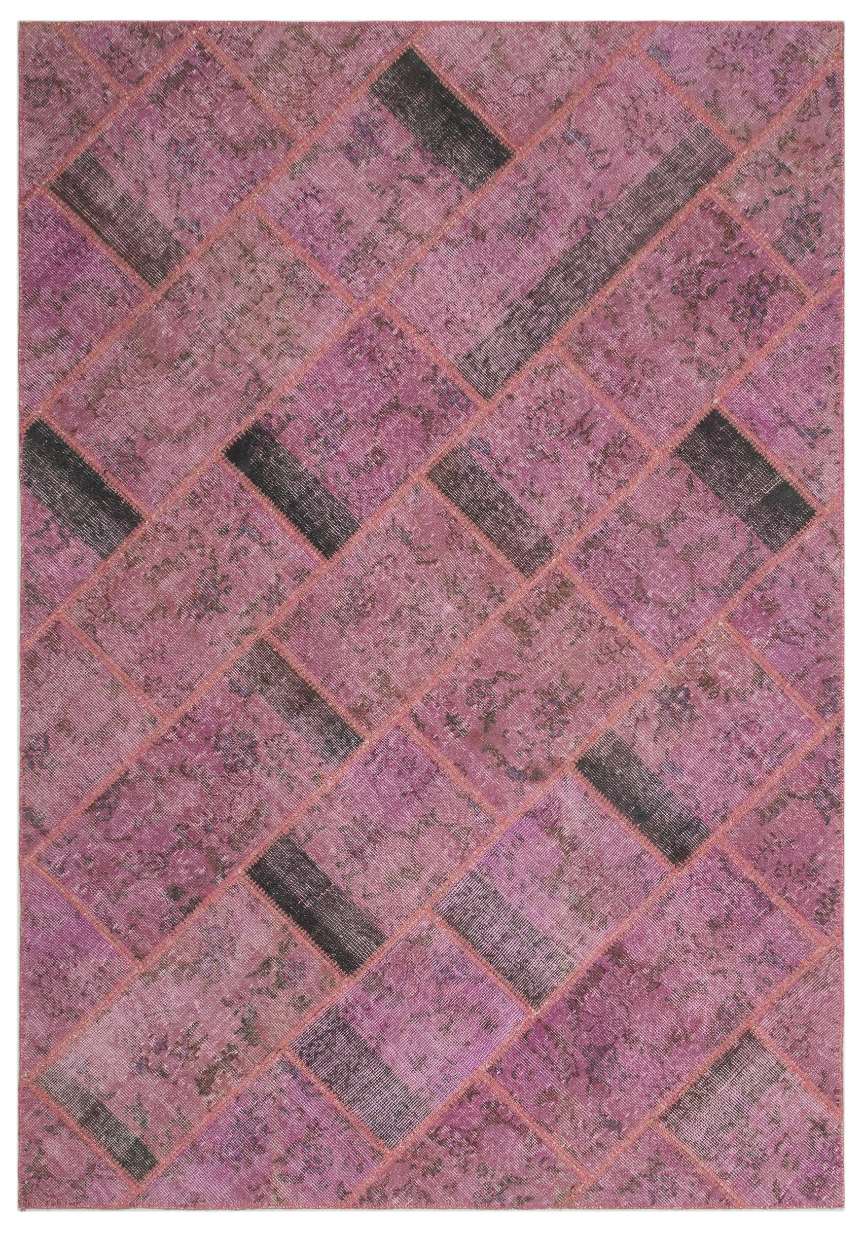 Pink Over Dyed Patchwork Unique Rug 5'3'' x 7'8'' ft 160 x 233 cm