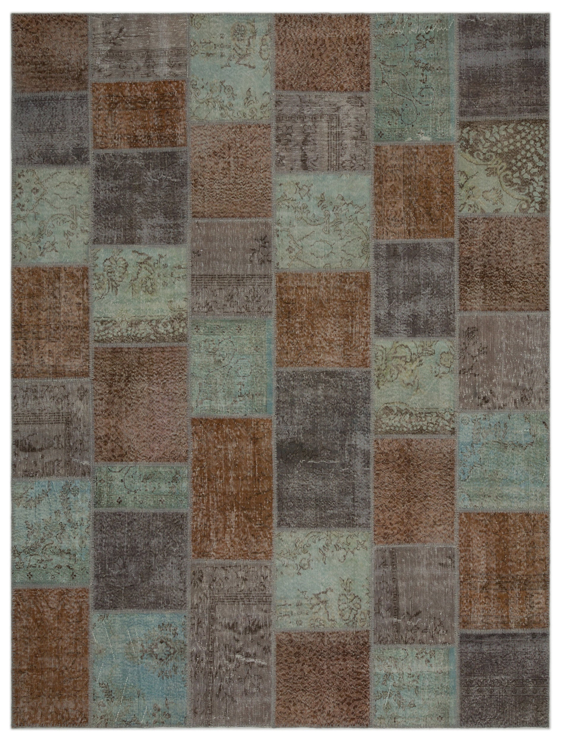 Gray Over Dyed Patchwork Unique Rug 8'12'' x 11'12'' ft 274 x 365 cm