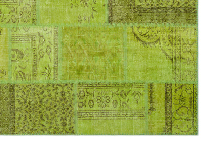 Green Over Dyed Patchwork Unique Rug 6'4'' x 9'3'' ft 192 x 282 cm