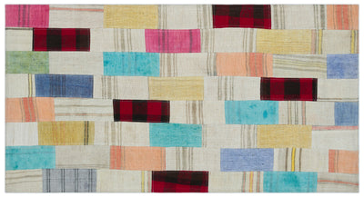 Mixed Over Dyed Kilim Patchwork Unique Rug 2'9'' x 5'1'' ft 84 x 155 cm