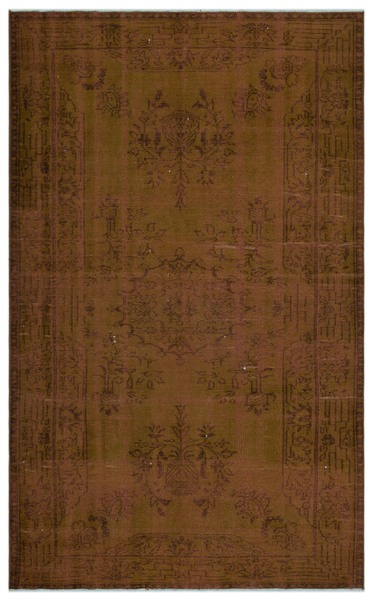 Brown Over Dyed Vintage Rug 5'10'' x 9'3'' ft 177 x 283 cm