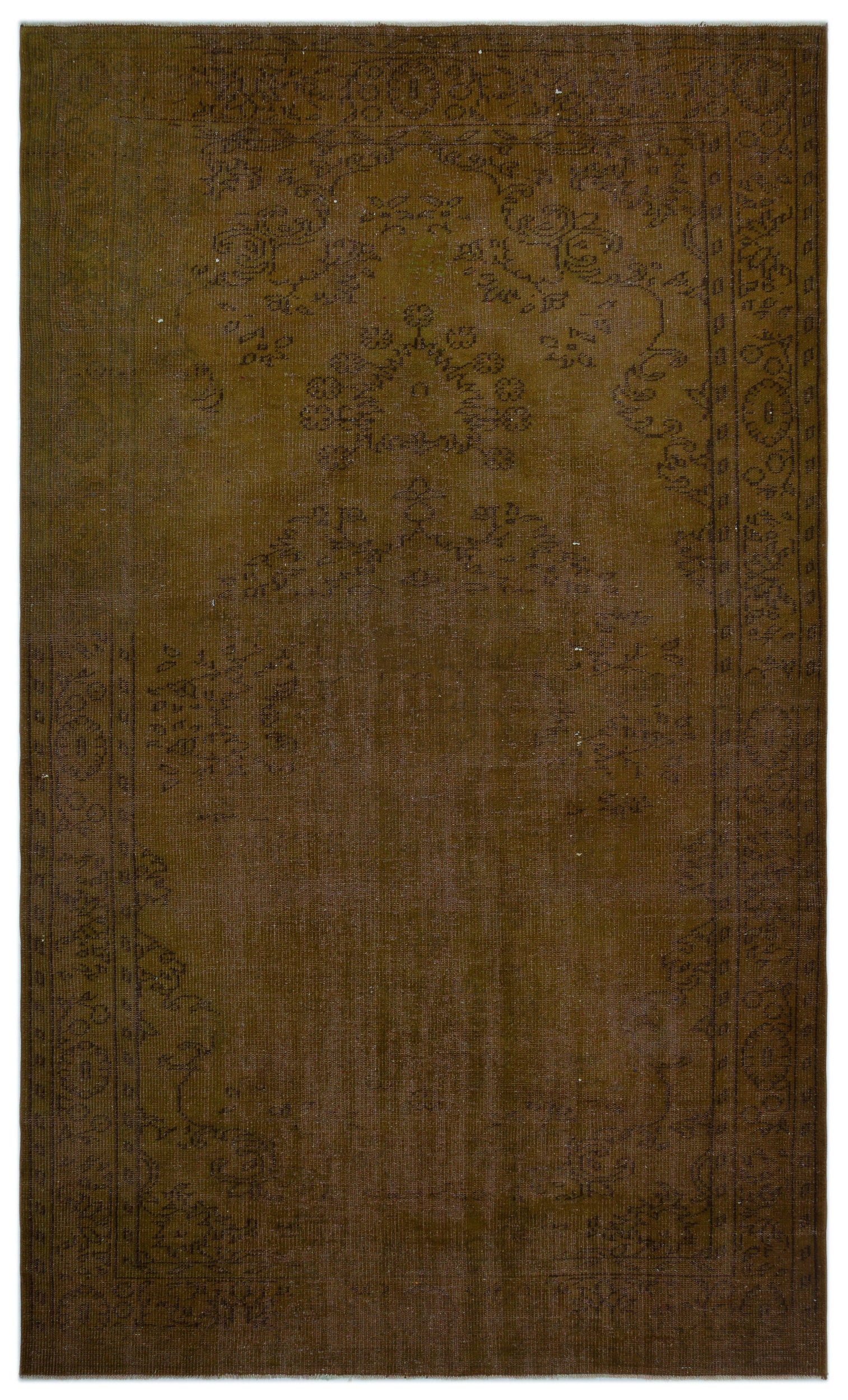 Brown Over Dyed Vintage Rug 5'9'' x 9'11'' ft 176 x 302 cm