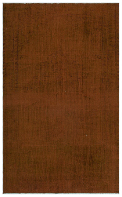 Brown Over Dyed Vintage Rug 5'5'' x 8'6'' ft 164 x 260 cm