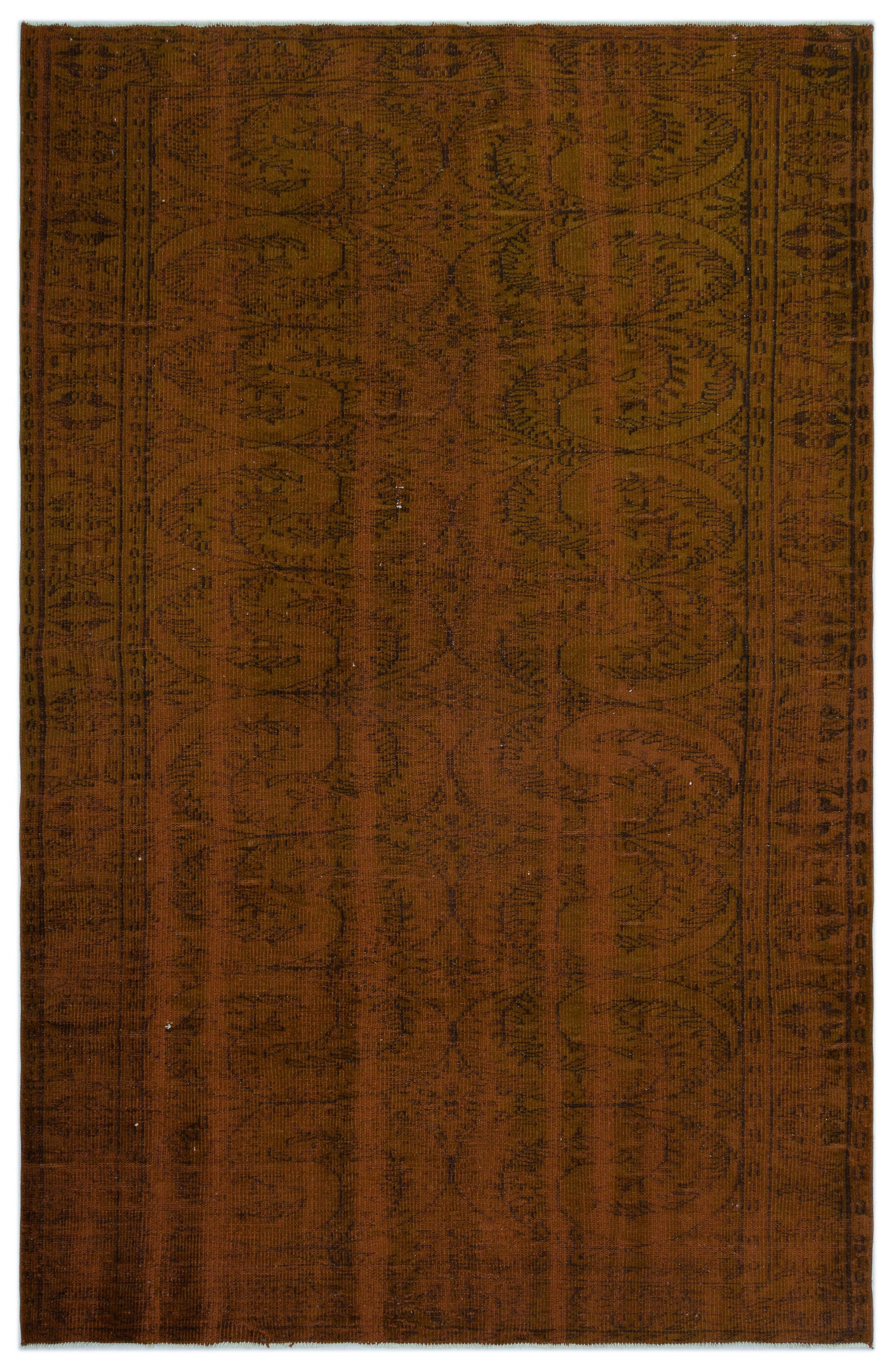Brown Over Dyed Vintage Rug 5'11'' x 9'3'' ft 181 x 283 cm