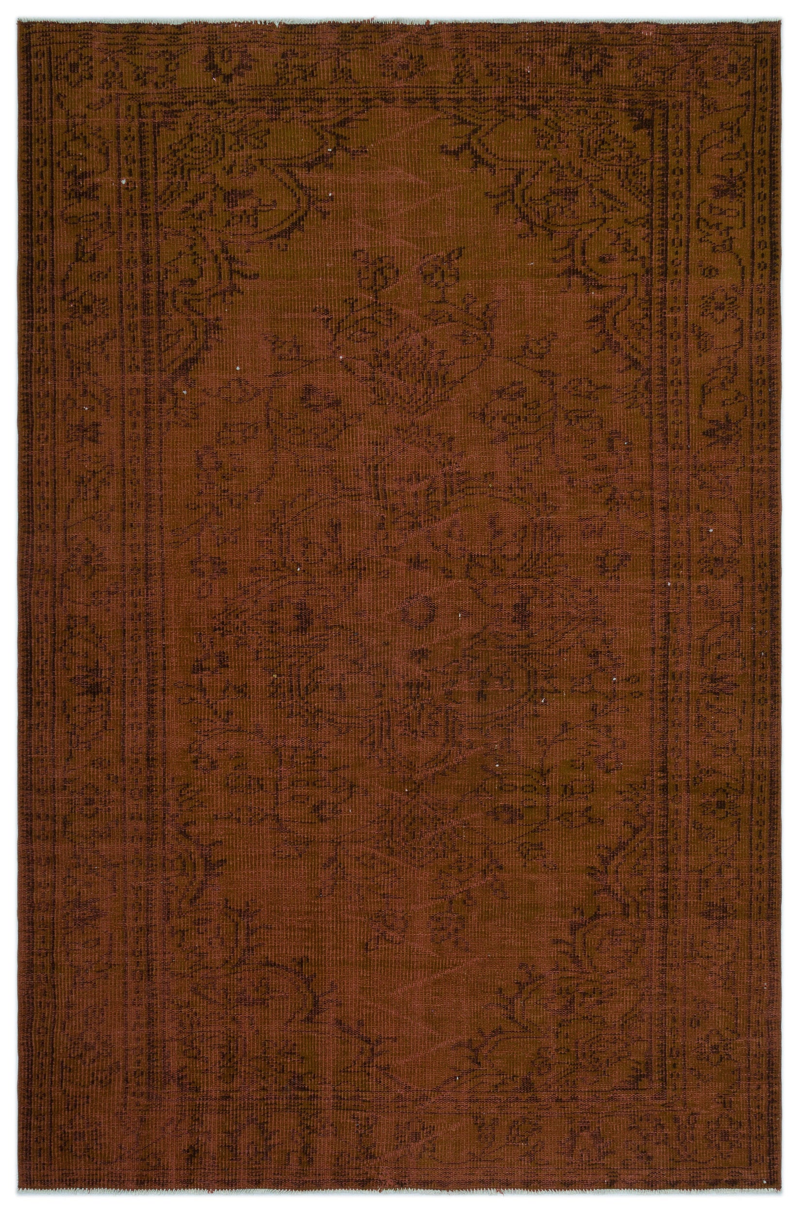 Brown Over Dyed Vintage Rug 5'7'' x 8'6'' ft 171 x 258 cm