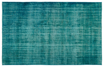 Turquoise  Over Dyed Vintage Rug 5'7'' x 9'0'' ft 170 x 275 cm
