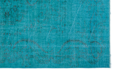 Turquoise  Over Dyed Vintage Rug 5'2'' x 8'4'' ft 158 x 255 cm