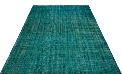 Turquoise  Over Dyed Vintage Rug 5'11'' x 8'6'' ft 180 x 260 cm