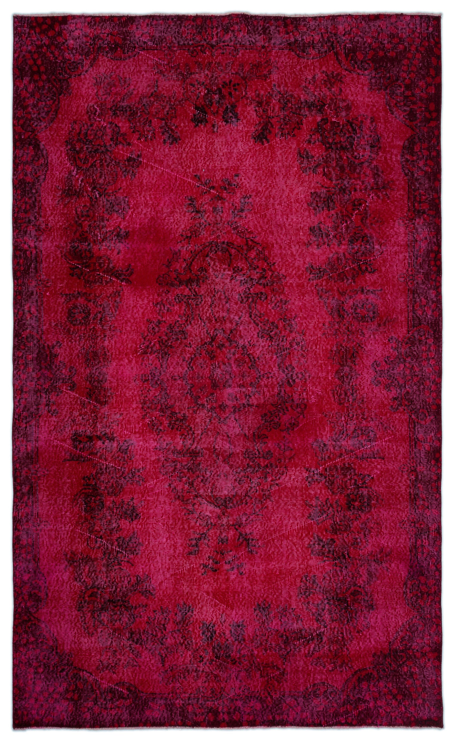 Red Over Dyed Vintage Rug 5'9'' x 9'7'' ft 175 x 292 cm