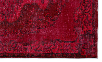 Red Over Dyed Vintage Rug 5'2'' x 8'6'' ft 158 x 260 cm