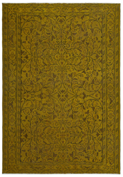 Yellow Over Dyed Vintage Rug 6'0'' x 8'8'' ft 184 x 265 cm