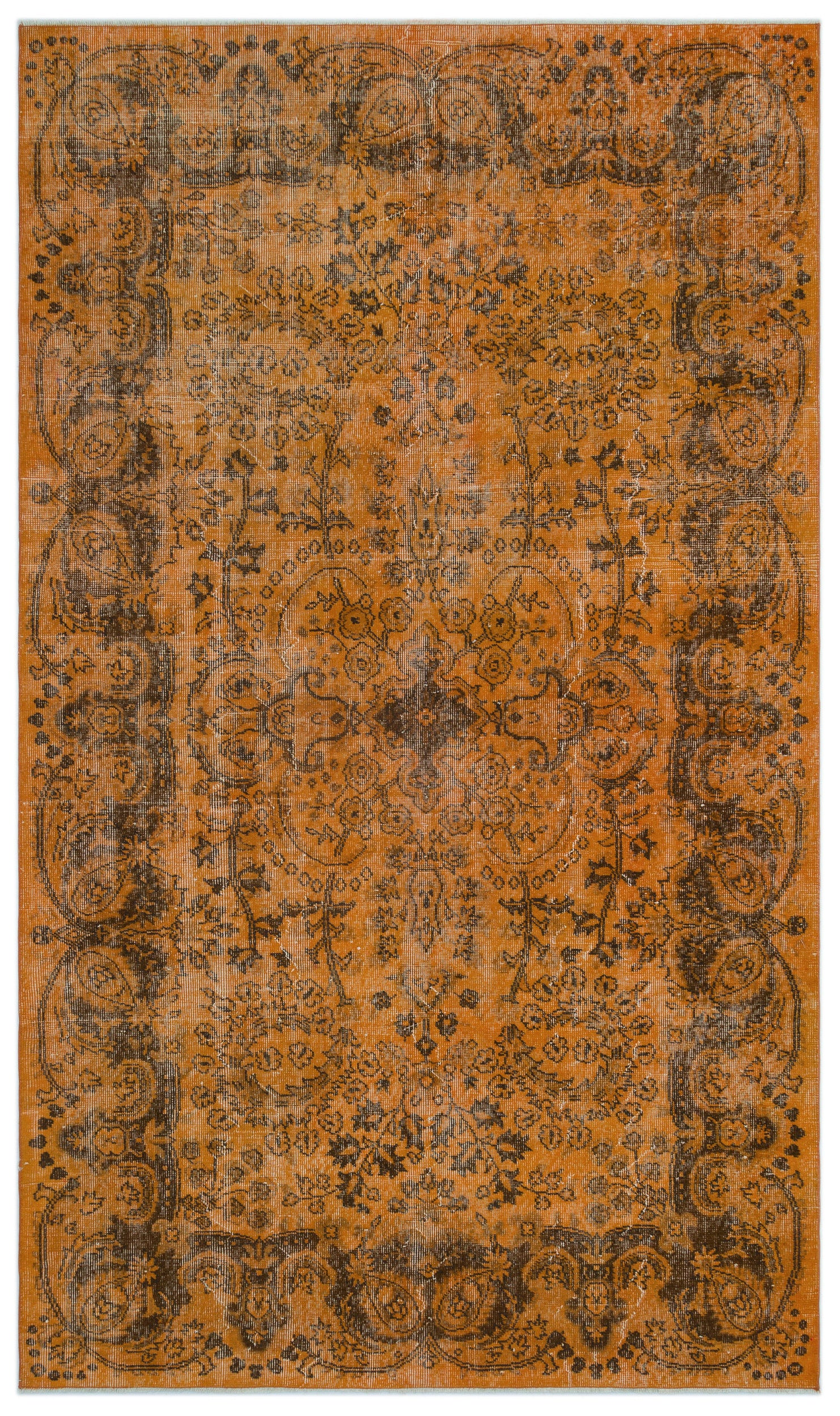 Orange Over Dyed Vintage Rug 5'7'' x 9'5'' ft 169 x 288 cm