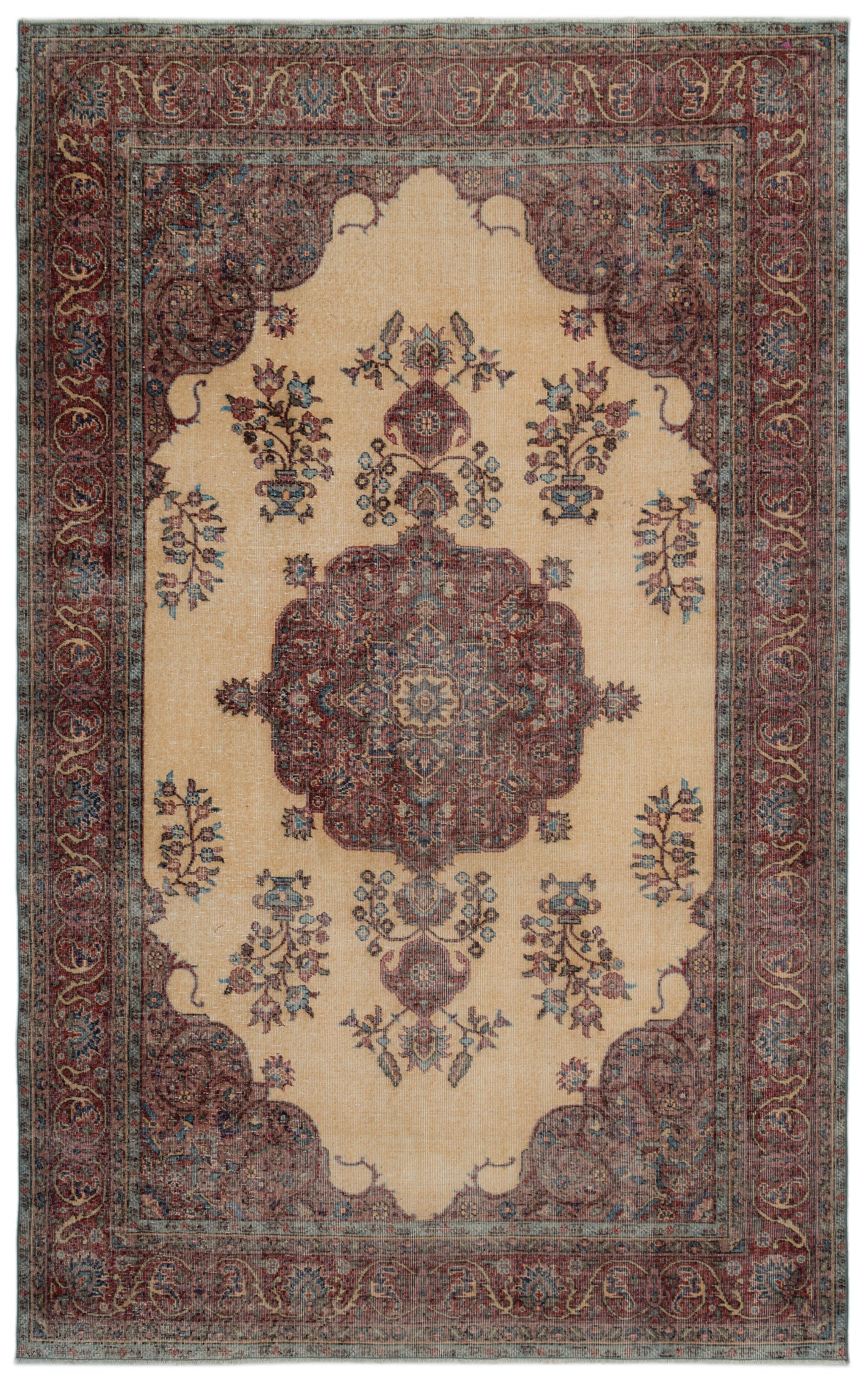 Naturel Over Dyed Vintage Rug 6'2'' x 10'2'' ft 187 x 309 cm