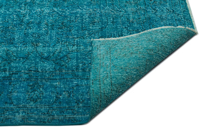 Turquoise  Over Dyed Vintage Rug 6'9'' x 9'10'' ft 206 x 300 cm