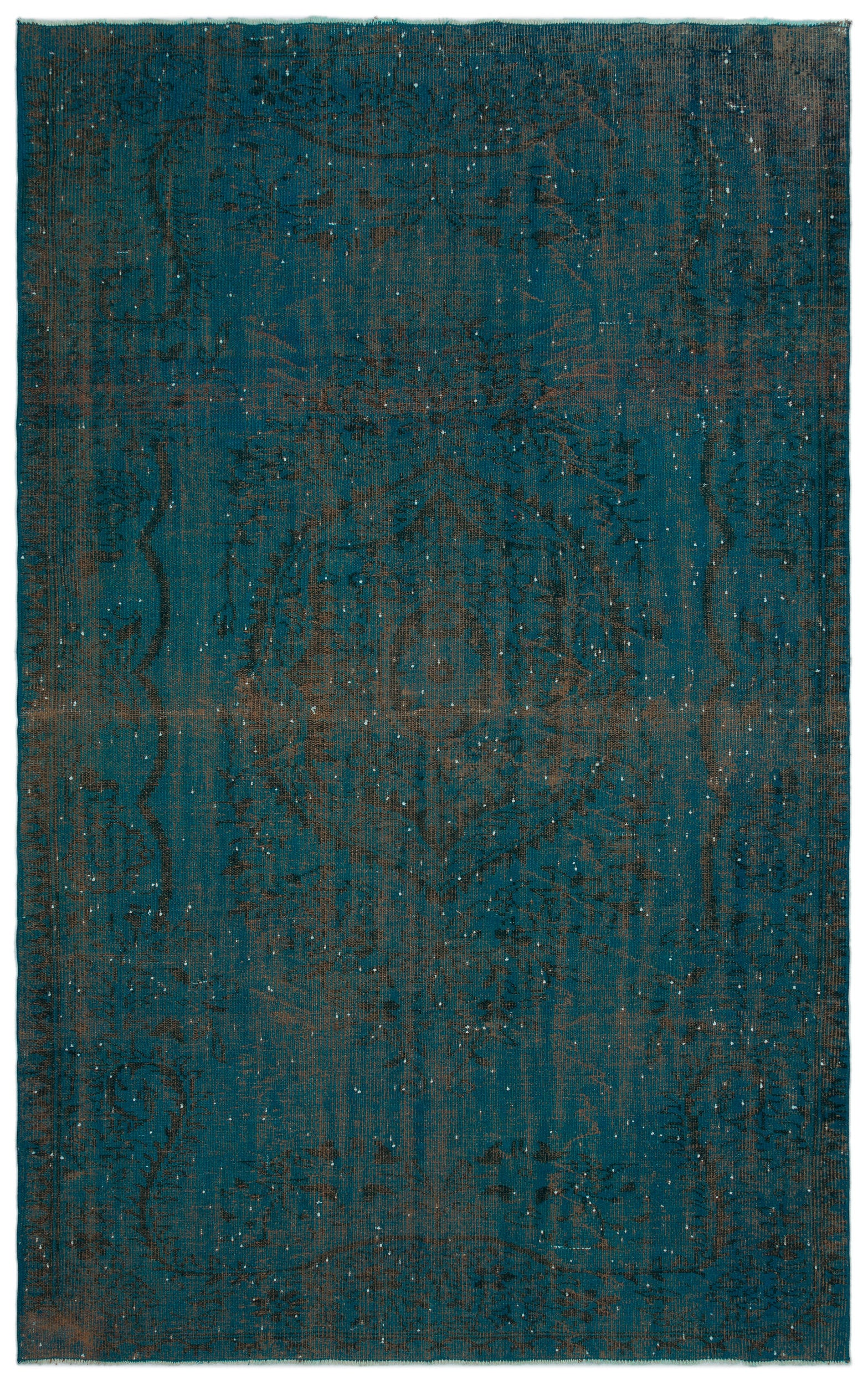 Turquoise  Over Dyed Vintage Rug 6'1'' x 9'10'' ft 185 x 300 cm