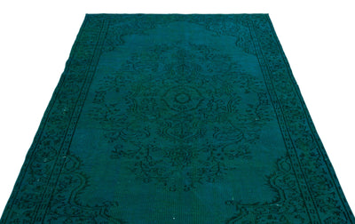 Turquoise  Over Dyed Vintage Rug 5'5'' x 8'6'' ft 164 x 259 cm