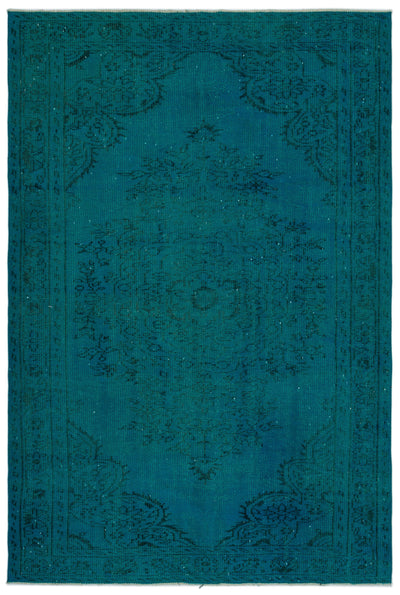 Turquoise  Over Dyed Vintage Rug 5'10'' x 8'7'' ft 178 x 262 cm