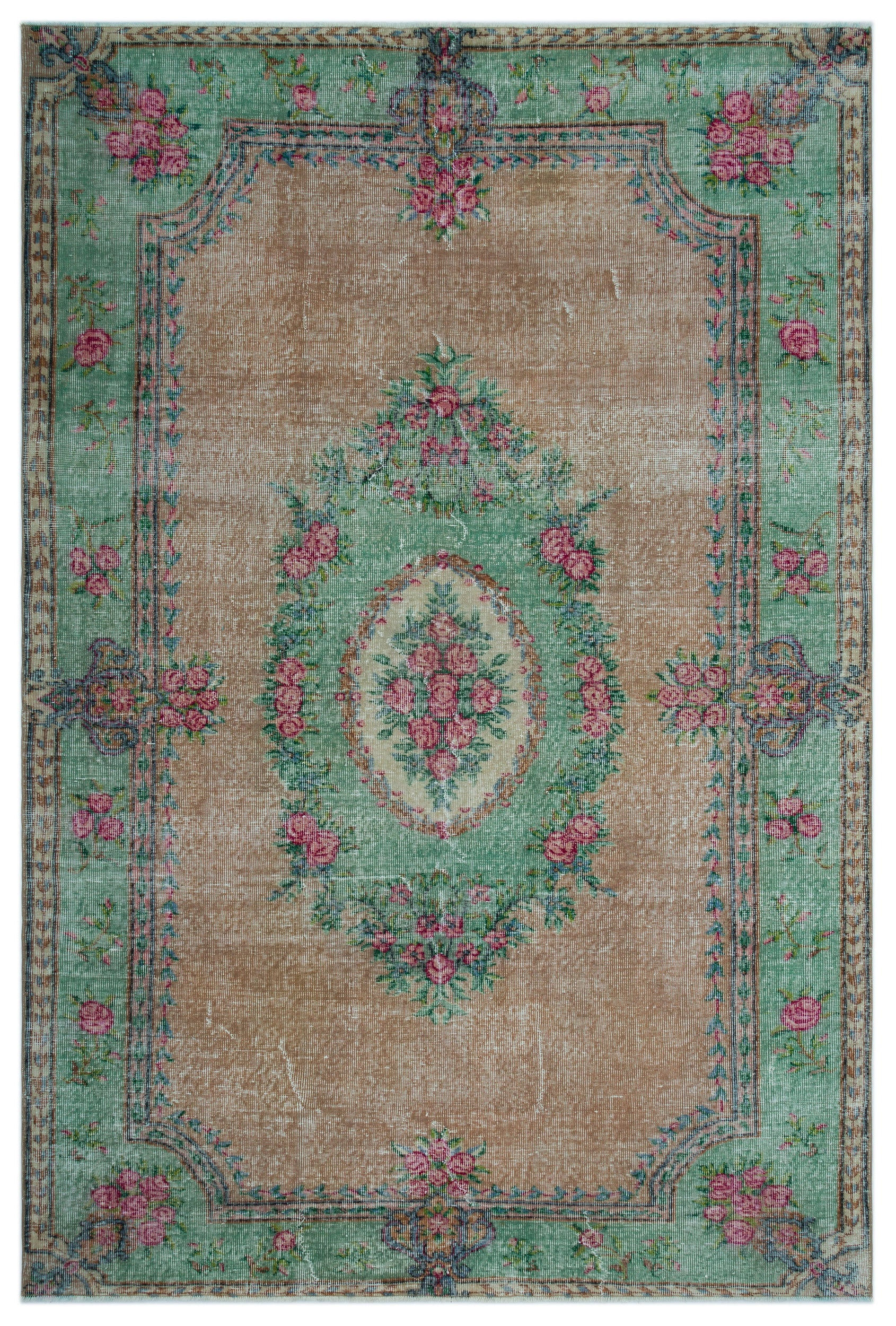Retro Over Dyed Vintage Rug 6'4'' x 9'6'' ft 194 x 290 cm