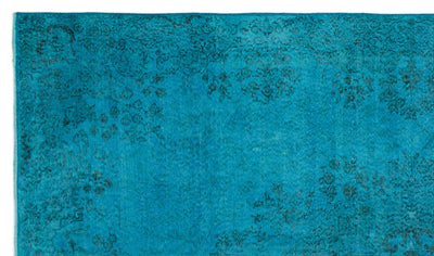 Turquoise  Over Dyed Vintage Rug 5'7'' x 9'5'' ft 170 x 288 cm