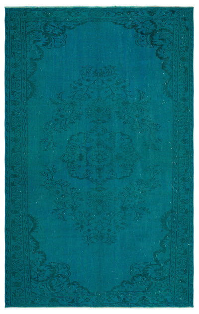 Turquoise  Over Dyed Vintage Rug 5'9'' x 9'1'' ft 174 x 278 cm