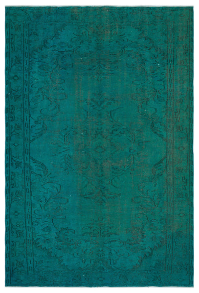 Turquoise  Over Dyed Vintage Rug 5'9'' x 8'8'' ft 175 x 263 cm