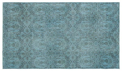 Blue Over Dyed Vintage Rug 5'1'' x 9'1'' ft 155 x 276 cm