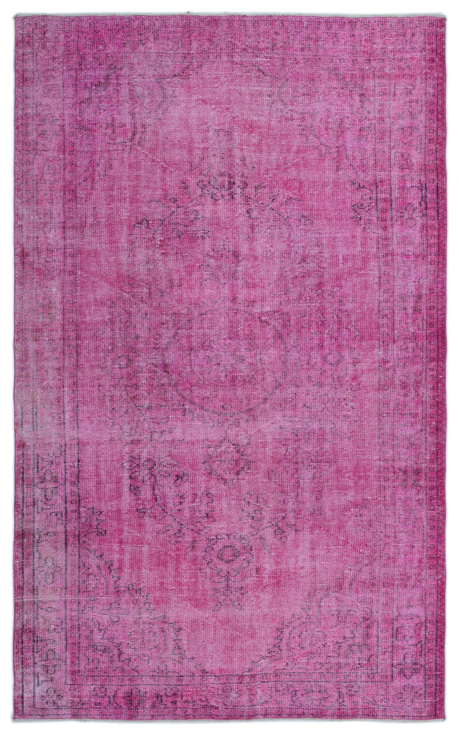 Pink Over Dyed Vintage Rug 5'9'' x 9'3'' ft 174 x 282 cm