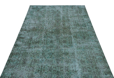 Turquoise  Over Dyed Vintage Rug 5'3'' x 8'9'' ft 159 x 266 cm