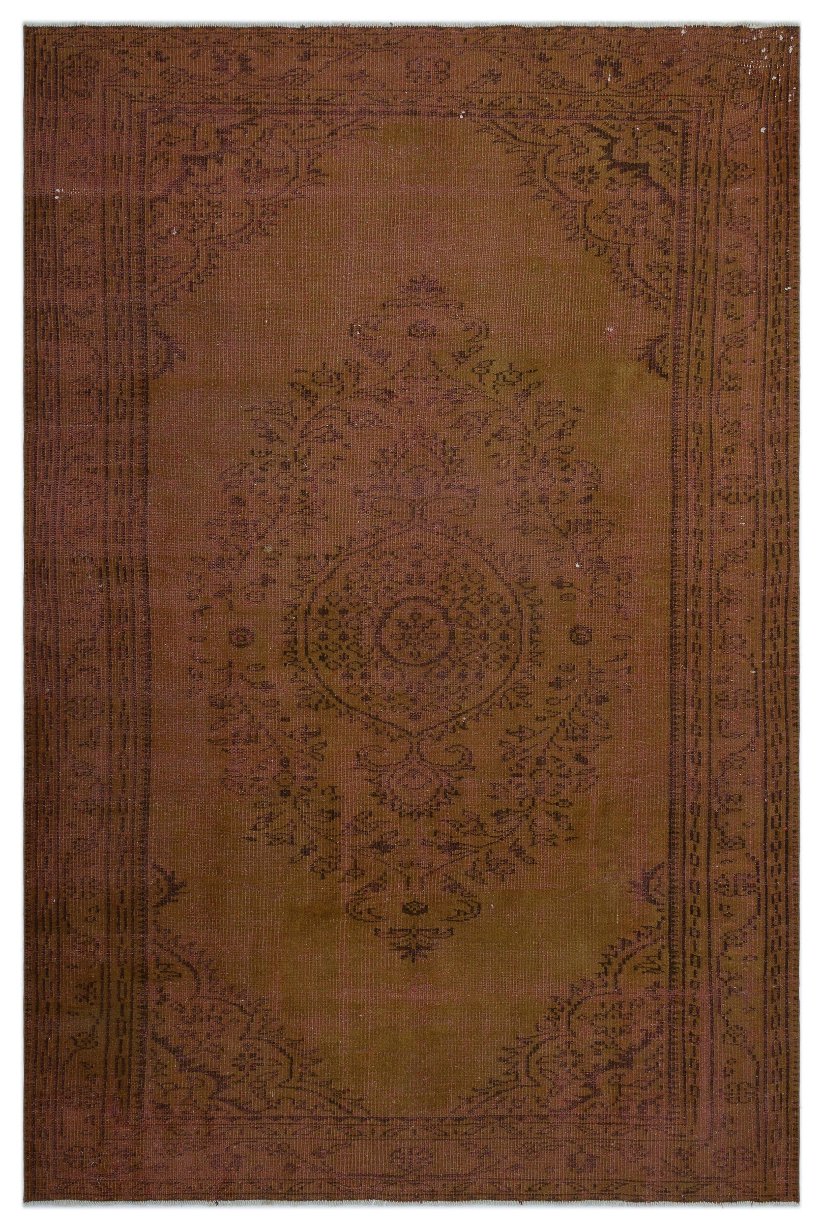 Brown Over Dyed Vintage Rug 5'8'' x 8'8'' ft 173 x 265 cm