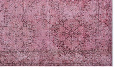 Pink Over Dyed Vintage Rug 5'8'' x 9'8'' ft 172 x 295 cm