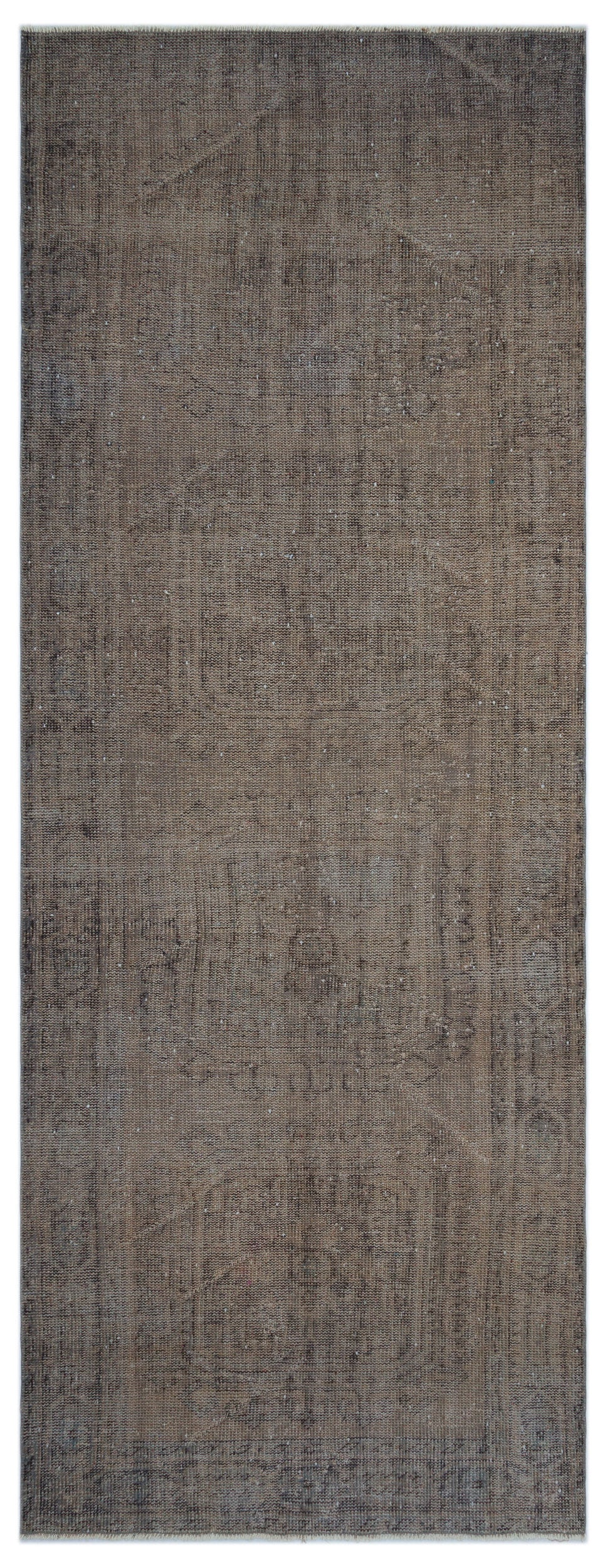 Brown Over Dyed Vintage Rug 4'4'' x 11'3'' ft 131 x 344 cm