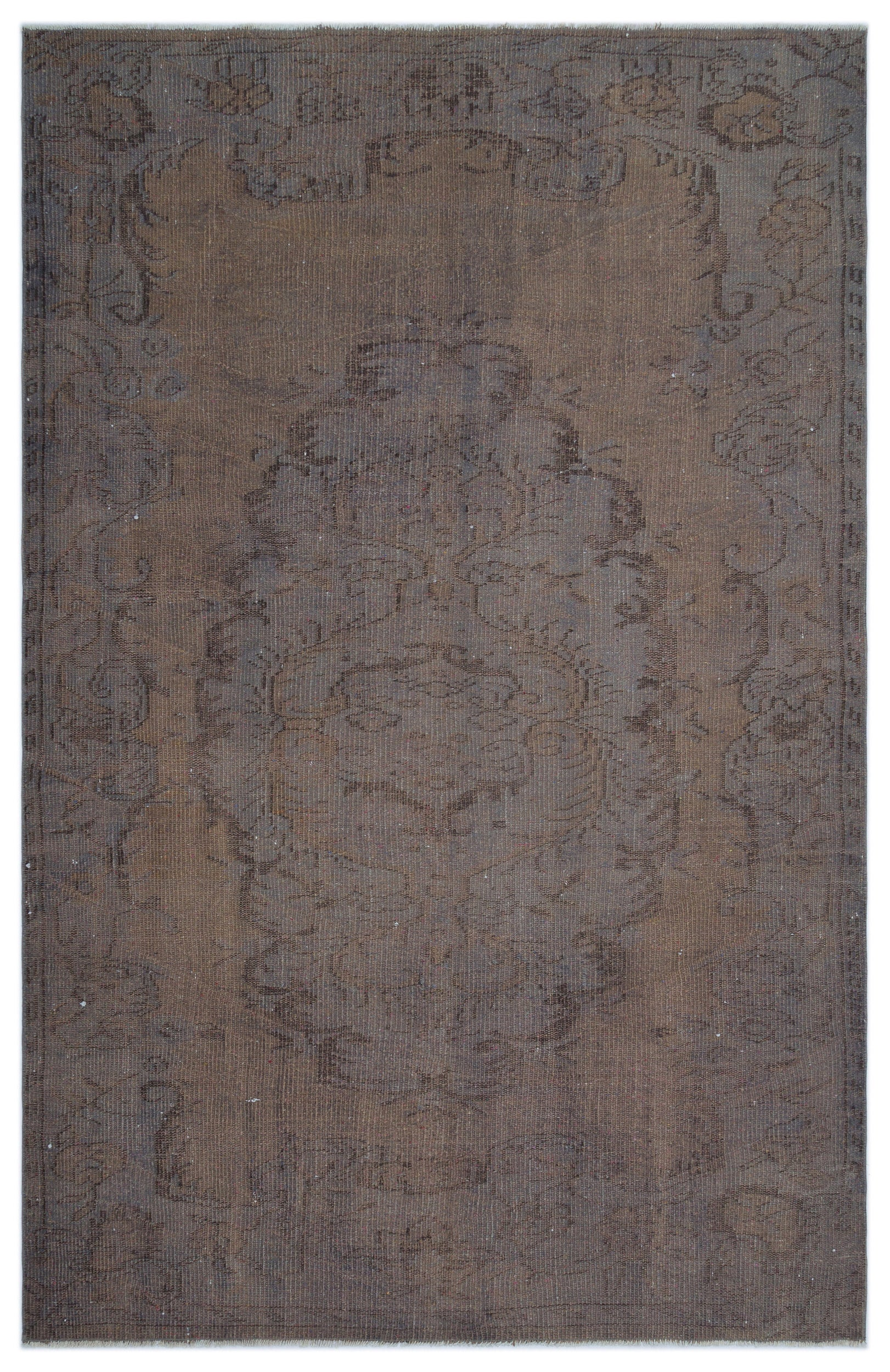 Brown Over Dyed Vintage Rug 5'7'' x 8'6'' ft 169 x 259 cm