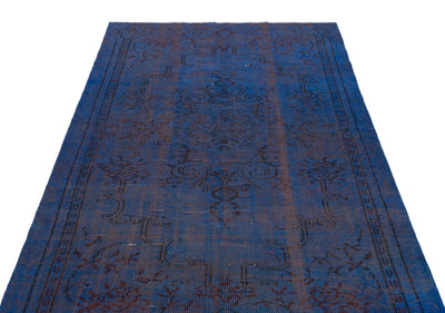 Blue Over Dyed Vintage Rug 4'10'' x 8'7'' ft 148 x 262 cm