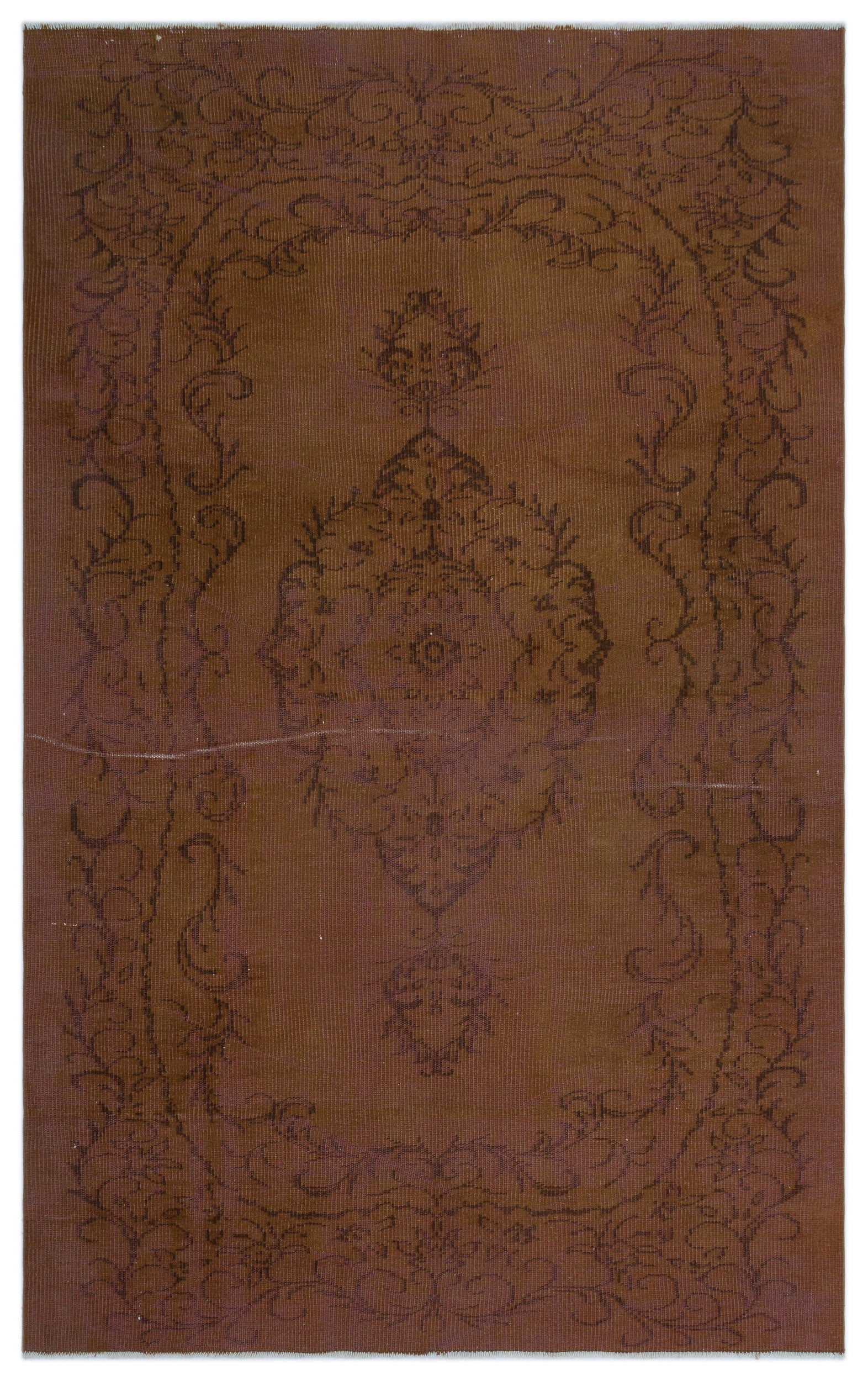 Brown Over Dyed Vintage Rug 5'5'' x 8'7'' ft 165 x 261 cm