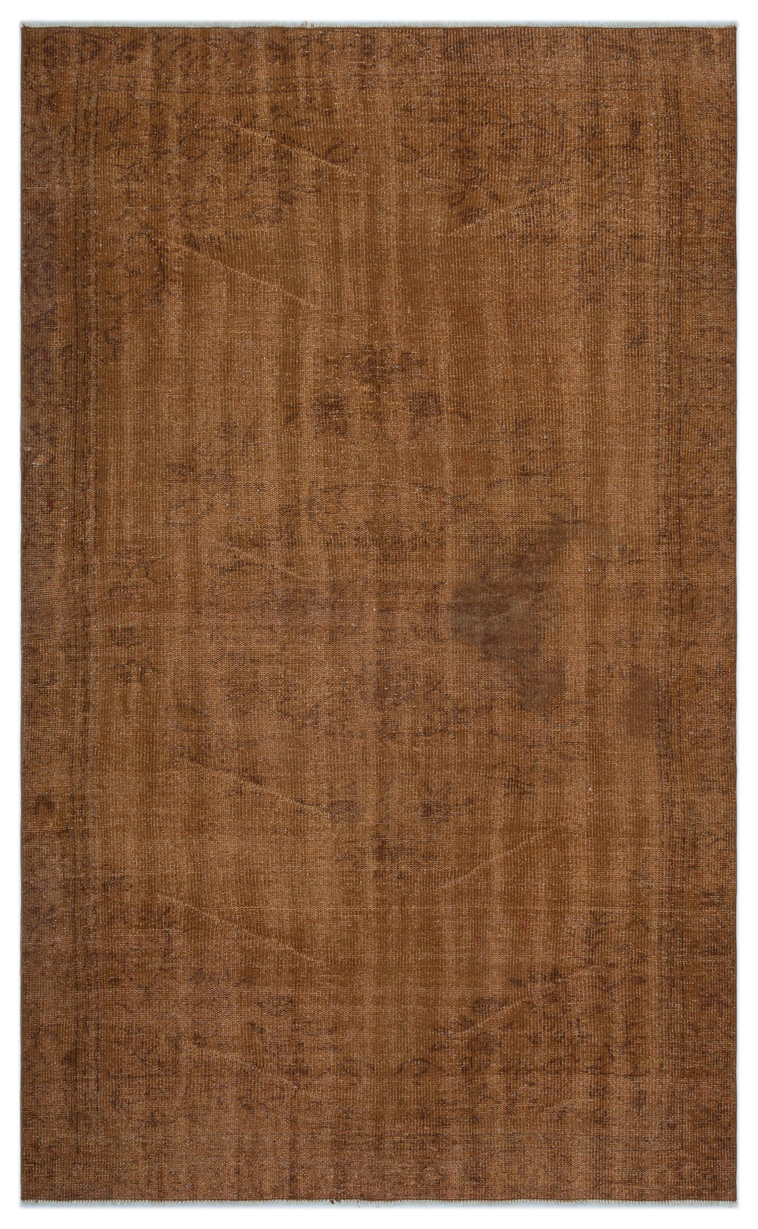 Brown Over Dyed Vintage Rug 5'6'' x 9'1'' ft 168 x 276 cm