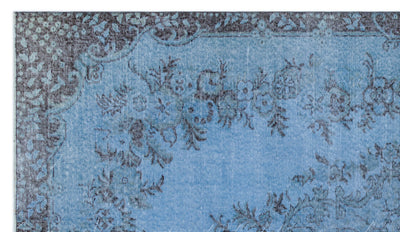 Blue Over Dyed Vintage Rug 5'0'' x 8'9'' ft 153 x 267 cm
