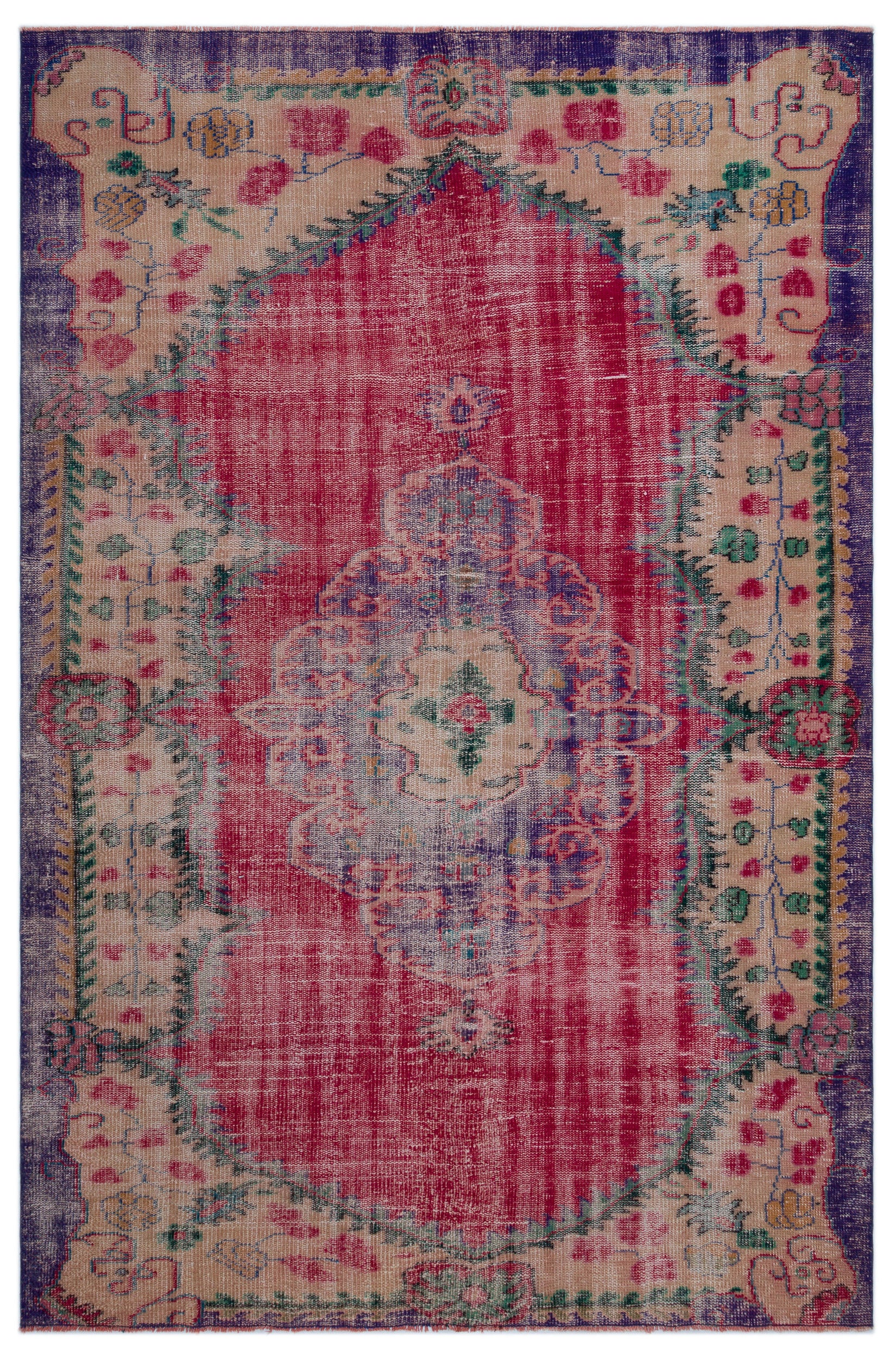 Retro Over Dyed Vintage Rug 6'3'' x 9'5'' ft 190 x 288 cm