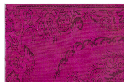 Fuchsia Over Dyed Vintage Rug 5'5'' x 8'3'' ft 164 x 251 cm