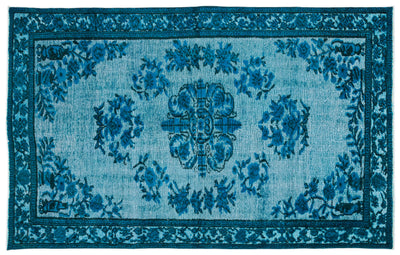 Turquoise  Over Dyed Carved Rug 5'7'' x 8'11'' ft 170 x 271 cm