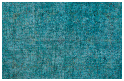Turquoise  Over Dyed Vintage Rug 6'4'' x 10'2'' ft 194 x 309 cm