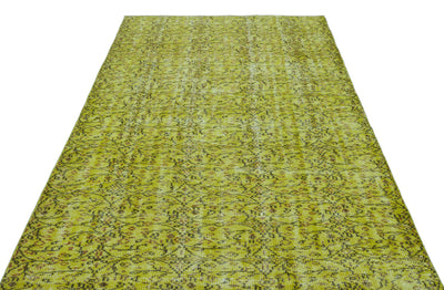 Green Over Dyed Vintage Rug 5'5'' x 8'8'' ft 166 x 264 cm