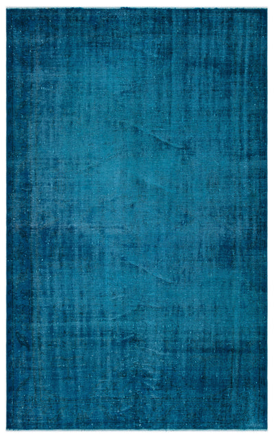 Turquoise  Over Dyed Vintage Rug 5'2'' x 8'4'' ft 157 x 254 cm