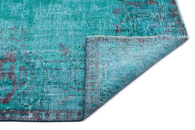 Turquoise  Over Dyed Vintage Rug 5'10'' x 9'0'' ft 178 x 275 cm