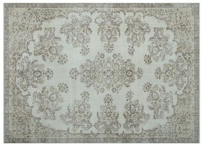 Beige Over Dyed Vintage Rug 6'12'' x 9'9'' ft 213 x 296 cm