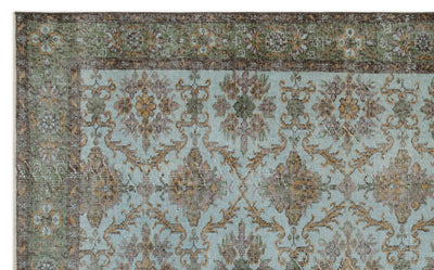 Green Over Dyed Vintage Rug 5'8'' x 9'2'' ft 173 x 279 cm