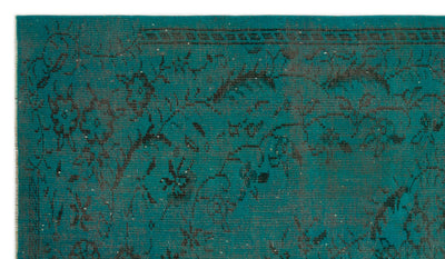 Turquoise  Over Dyed Vintage Rug 5'7'' x 9'4'' ft 169 x 285 cm
