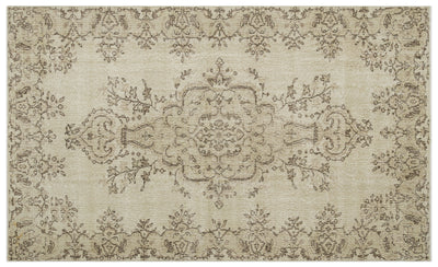Beige Over Dyed Vintage Rug 5'9'' x 9'5'' ft 174 x 288 cm