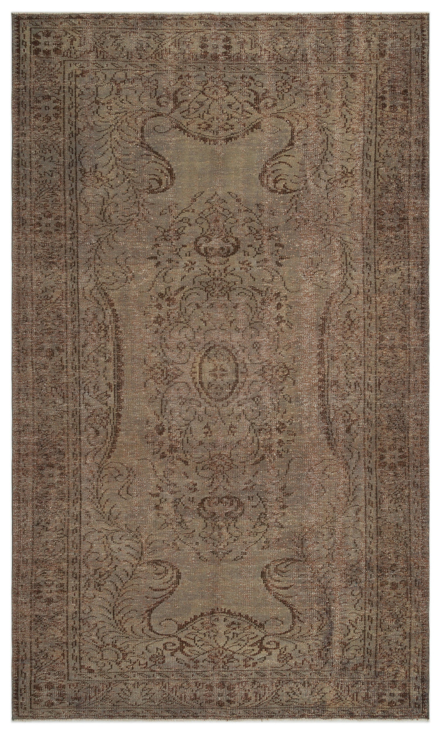 Brown Over Dyed Vintage Rug 5'11'' x 10'1'' ft 181 x 308 cm
